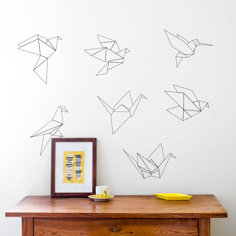 Zn n151 diy wall stickers home decor for kids room origami for Origami decorations for your room