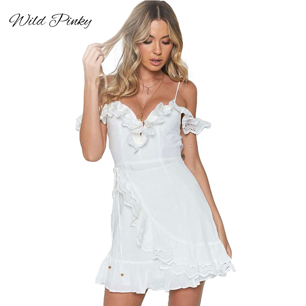 WildPinky Strap Backless Mini Summer Dress Women V Neck Ruffles Lace Up White Dress Female 2019 Streetwear Beach Dress Vestidos