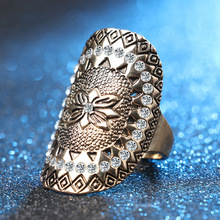 Fashion Vintage Bohemian Rings Carved Gold Totem Micro-inlaid Stainless Steel Woman Rings Big Knuckle Jewelry Accessories все цены