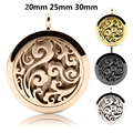 Round 4color Lotus Flower 20mm, 25mm and 30mm Stainless Steel Essential Oils Aromatherapy Diffuser Locket Necklace Free Shipping