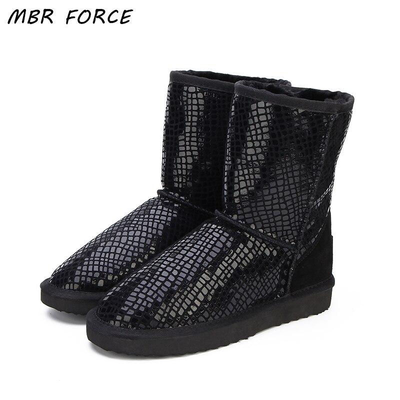 MBR FORCE Australie Classique Offre Spéciale Mode Véritable Peau de Vache En Cuir Bottes de Neige D'hiver Fourrure Imperméable Femmes Chaussures Botas Mujer