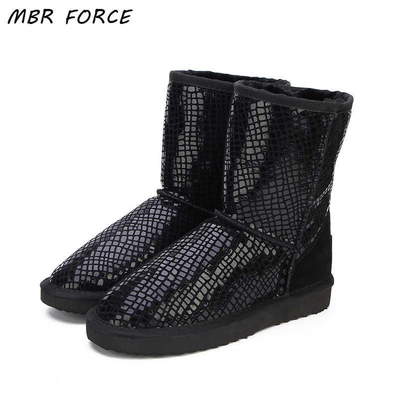 MBR kuvvet avustralya klasik sıcak satış moda hakiki inek derisi deri kar botları kış kürk su geçirmez kadın ayakkabı Botas Mujer