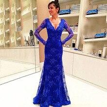 Ruijia Frauen Royal Blue Langes Kleid mit V-ausschnitt Volle Hülsen-nixe Abendkleider 2016 Robe de Soiree