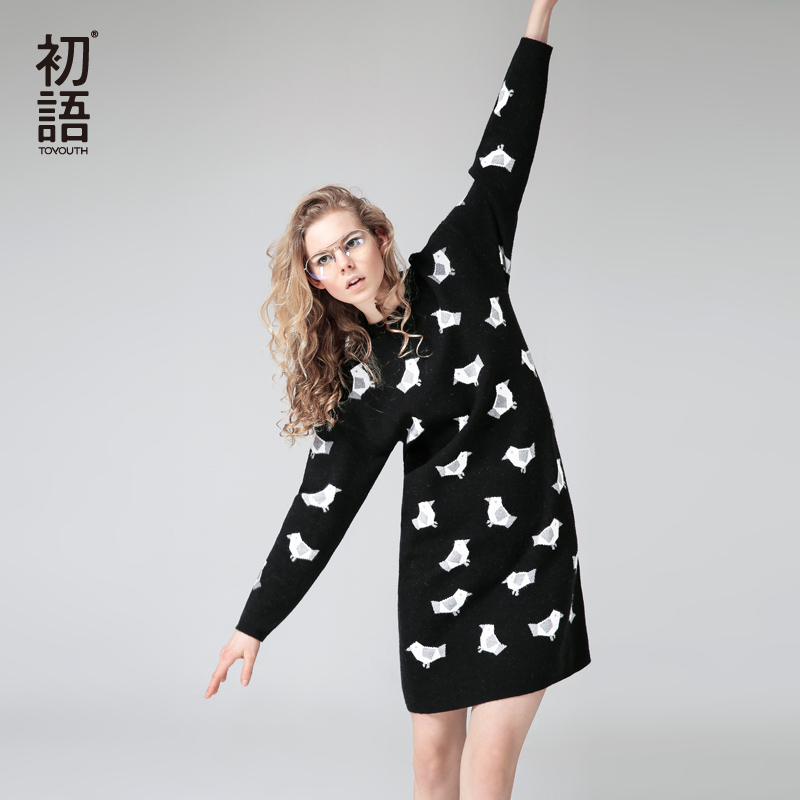 Toyouth Cute Birds Printed Sweater Dresses Winter Women Warm Long Sleeve Black Knitted Dress All-Match O-Neck Long Sleeve Robe все цены
