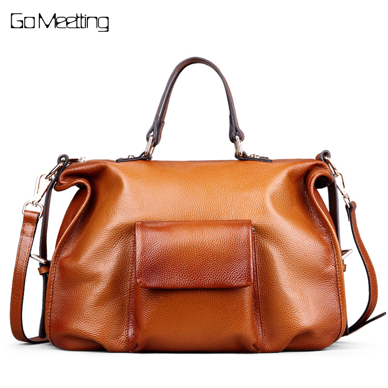 Go Meetting Luxury Brand Genuine Leather Women Handbags High Quality Cowhide Women Shoulder Bag Vintage Crossbody Messenger Bags chispaulo women bags brand 2017 designer handbags high quality cowhide women s genuine leather handbags women messenger bag t235