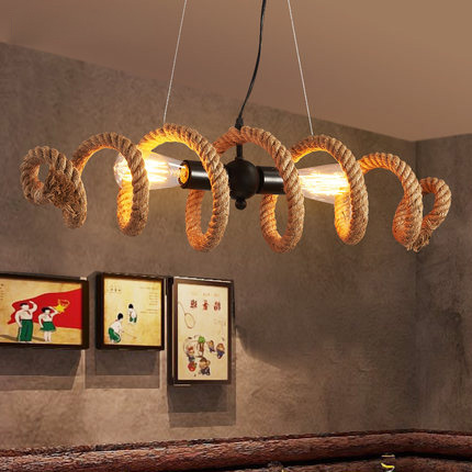 Nordic Rural Vintage Pendant Lamp Loft Suspension Luminaire Creative Rope Edison Bulb Light Fixture Restaurant Art Deco Lighting vintage nordic retro edison bulb light chandelier loft antique adjustable diy e27 art spider pendant lamp home lighting