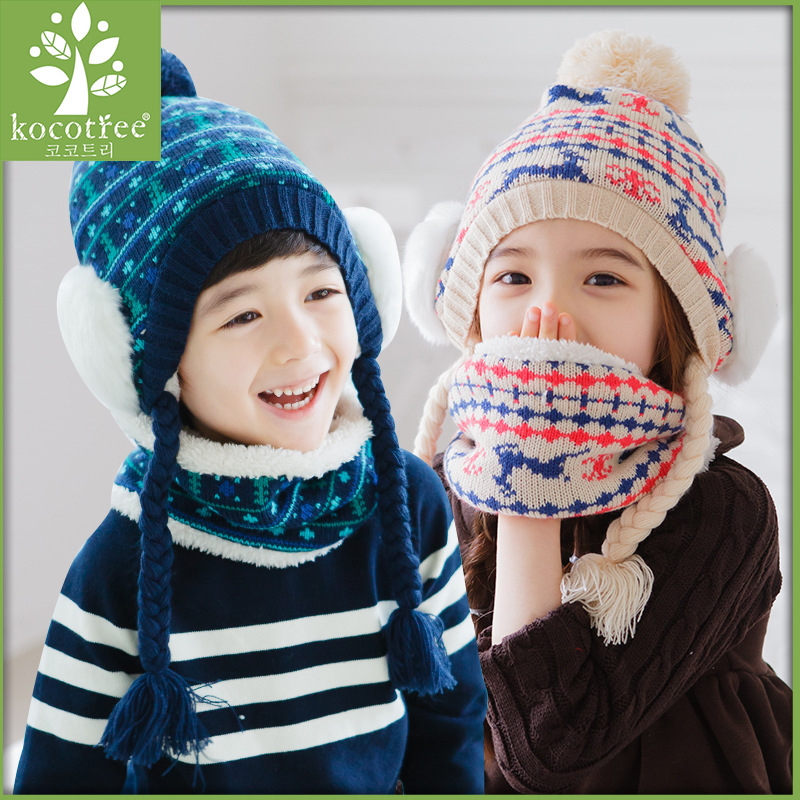 Christmas Deer Beanies Sets Velvet Cotton Kids Boys Knit Fur Hats Winter 2 Pcs Baby Girl Scarf Hat Set Age For 1-10 Years Old