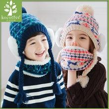 148aa54b0941c De noël cerfs bonnets ensembles velours coton enfants garçons tricot chapeaux  de fourrure d hiver 2 pcs bébé fille écharpe chape.