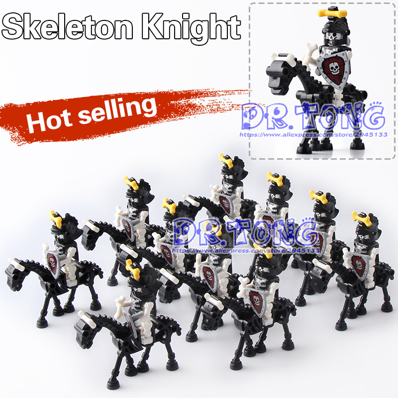 DR TONG 10PCS/LOT Skeleton Knights Medieval Castle Knights Skeleton Horses The Lord of the Rings Building Bricks Blocks Toys knights of sidonia volume 6