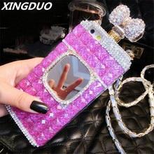 XINGDUO for Samsung Note 5 8 9 S6 S7 edge S8 S9 S10 Plus Diamonds Rhinestone mirror Perfume bottle soft phone case back cover
