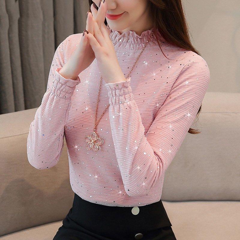 Autumn Winter New Women Fashion Velvet Lace Bottoming Tops Female Sweet Turtleneck Pink Beige Gray Blouses Shirts Blusas DF2245