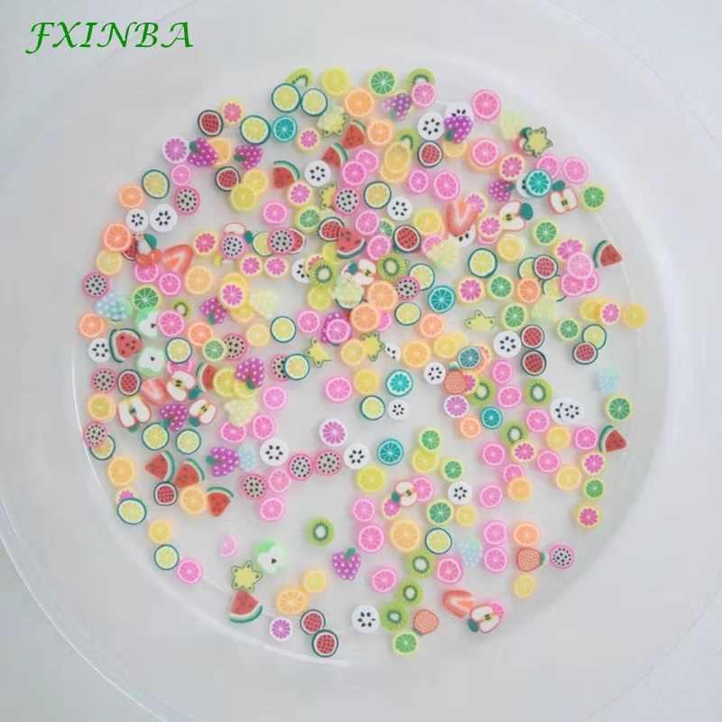 FXINBA Nuovo 200 Pz/borsa Mini Fette di Frutta Per Slime Forniture/Nails Punta di Arte del Polimero di Argilla Spruzza Fetta Slimes Giocattoli lizun FAI DA TE