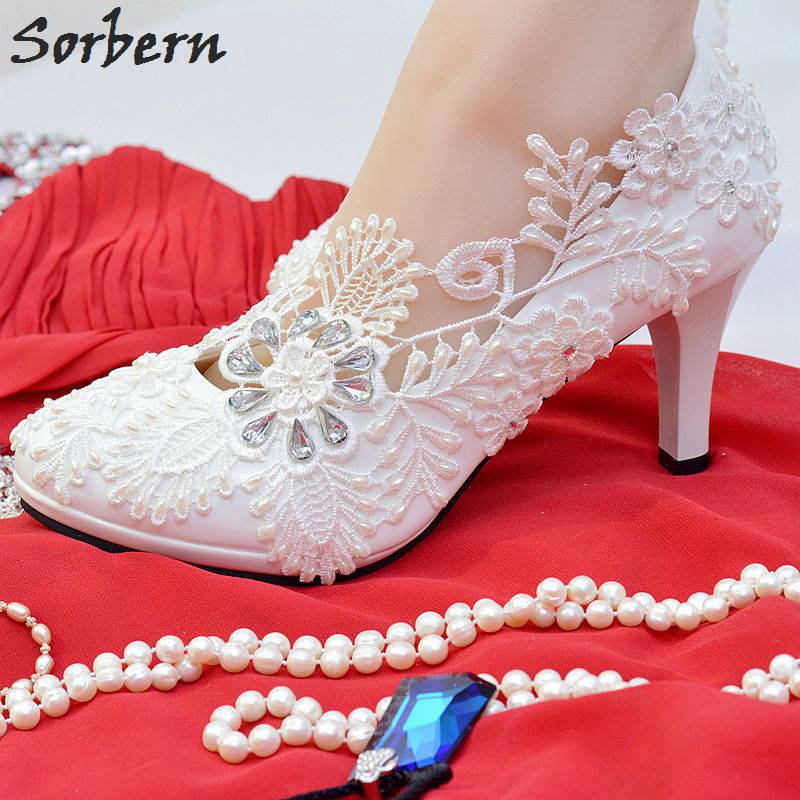 Sorbern White Womens Pumps Real Crystal Beading Bridal Wedding Shoes For Bridesmaids Women Summer Pumps 2018 Rhinestone Heels