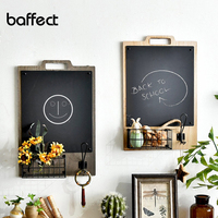 Nordic Wooden Wall Hanging Decoration Shelf Personalized Rack with Blackboard Organizer Storage Holder Home message board