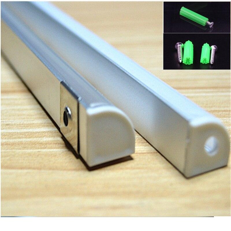 Image 2 - 2 30pcs/lot 0.5m/pc 45 degree corner aluminum profile for 5050,3528  led strip,milky/transparent cover bar channel for 10mm pcb-in LED Bar Lights from Lights & Lighting