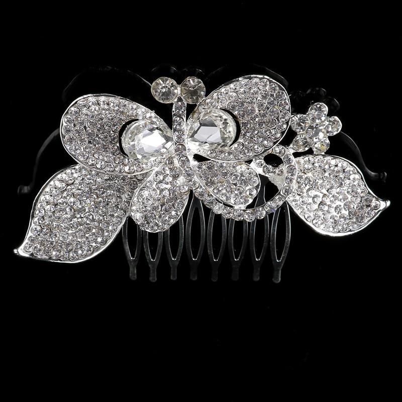 Elegan Mewah Pernikahan Pengantin Tiara Berkilau Perak Disepuh Kristal Bridal Sisir Rambut Jepit Rambut Perhiasan Aksesoris Rambut