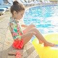 МАЛЫШ Серфинг одежда девочки яркий цветочный печати с длинным рукавом красочный желтый розовый красный купальники три пьесы сладкий Купальник