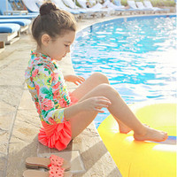 KID Surfing Wear Girls Bright Flower Printing Long Sleeve Colourful Yellow Pink Red Swimwear Two Piecessweet