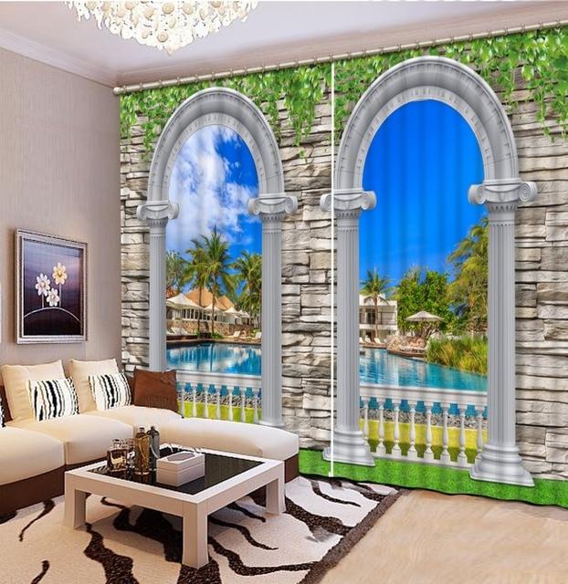 Arch Landscape Pemadaman Tirai Untuk Ruang Tamu R Tidur Stereoscopic