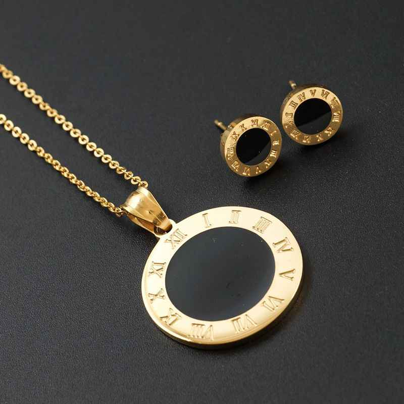 Gold Color Stainless Steel Jewelry Stes Roman Number Women Earrings & Necklace Set for Female Jewelry Round Black Disc Design