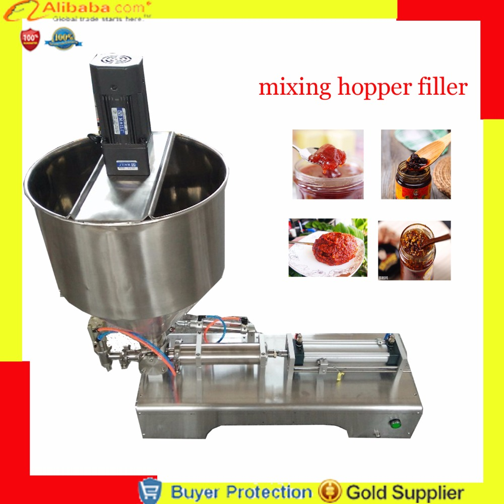 Free shipping filling machine with mixer with mixing hopper jar honey pulp grease peanut butter chocolate granules filler Бутылка