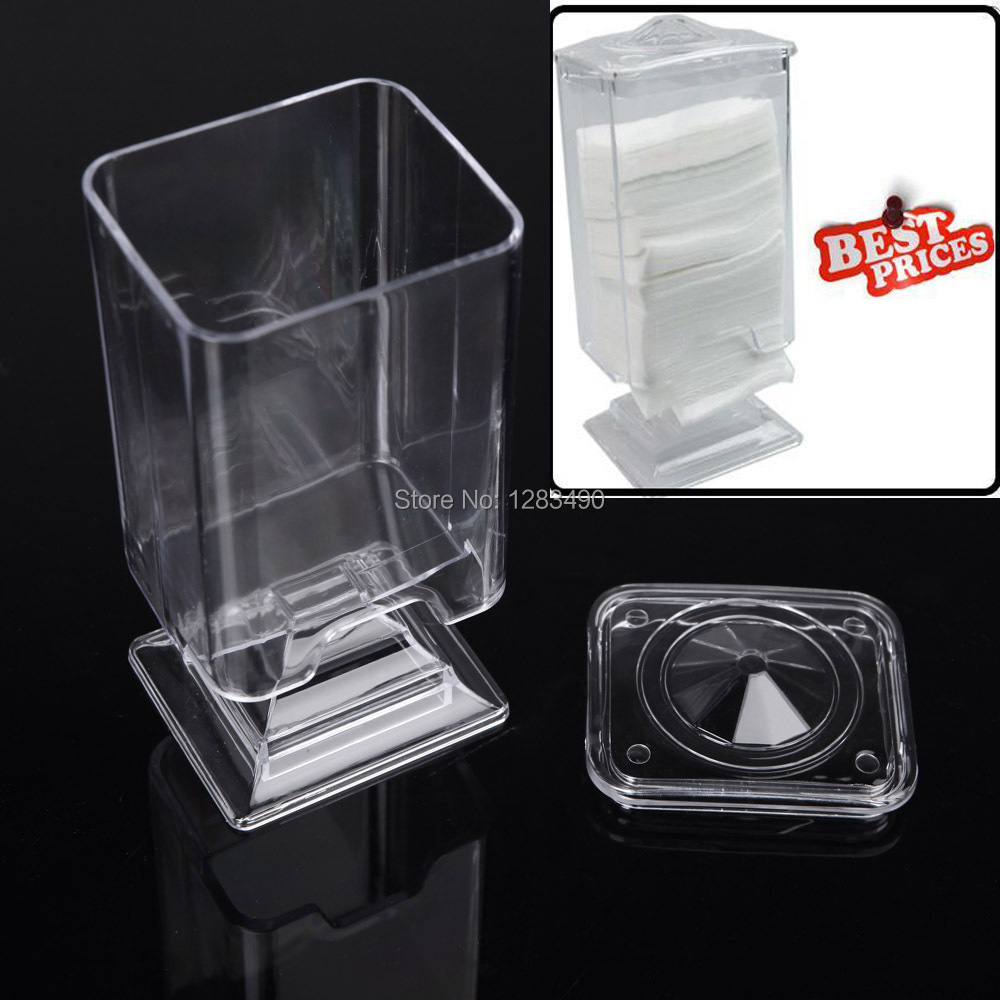 400pcs Nail Art Makeup Acrylic Polish Remover Cotton Pad Paper with Wipe Holder Case Container
