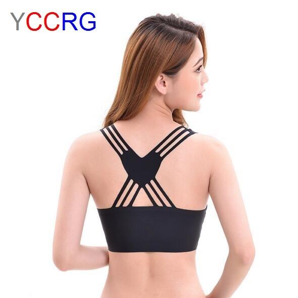 YCCRG Women Training Sexy Sports Bras Stretch Vest Girl Running Bra Lady Seamless Vest Bra Fitness Gym Padded Tops Yoga bra
