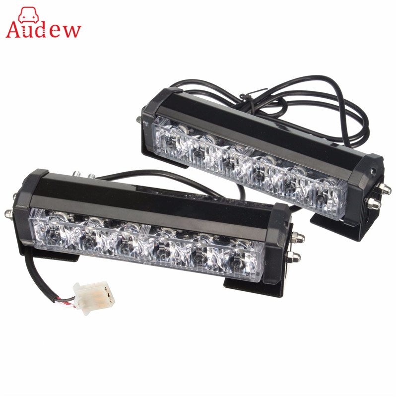 2X 6 LED Car Vechicle Strobe Flash Warning Light Hazard Grill Emergency Flashing Lamp + Switch Red Blue White Yellow 16x 2 car led flash emergency strobe warning grill light wireless control ultra bright 32 led 32w red blue amber white