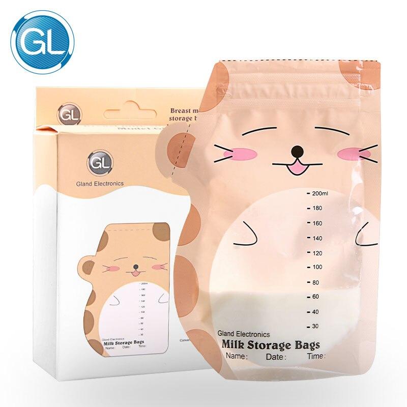 GL 30 peças Nome e Data de Marca Saco de Armazenamento de Leite Materno 200 ml bpa Seguro alimentação Do Bebê Saco De Armazenamento bonito Dos Desenhos Animados Design GLCN-3