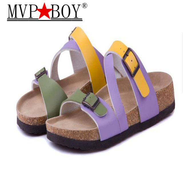 MVP BOY Fashion Cork Slipper Sandals New Summer Women Patchwork Beach  Slides Double Buckle Flip Flops Shoe white purple red 696bec928c30