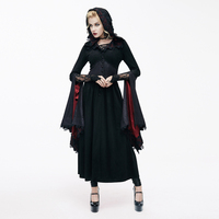 Gothic Lolita Witch Hooded Dark Palace Retro Trumpet Sleeves Floral A Line Dress Long Slim Lady