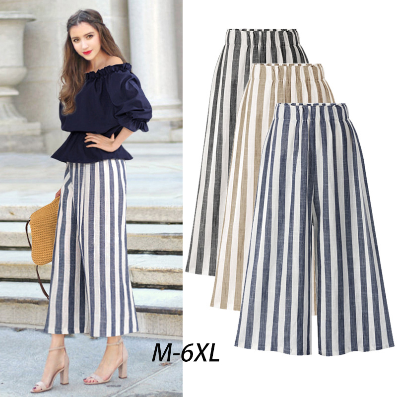 Korean Style Womens   Wide     Legs     Pants   High Waist Loose Ankle-Length   Pants   Womens Cotton OL   Pants   Large Size 6XL 8200