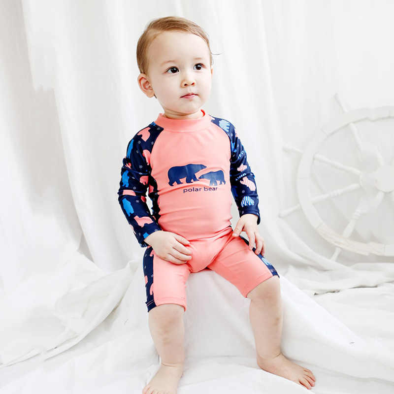 0664842b69 ... Chilren Swimsuit Baby Boy Handsome Polar Bear Beach Sunscreen Clothing Kids  Rash Guard Baby Boy Swimwear ...