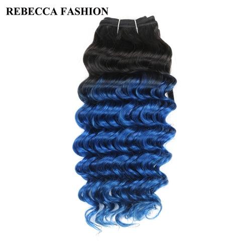 Brasileiro do Cabelo Pré-colorido para o Salão de Extensões de Cabelo Rebecca Pacotes Tecer Cabelo Humano Remy Onda Profunda Ombre Azul T1b –