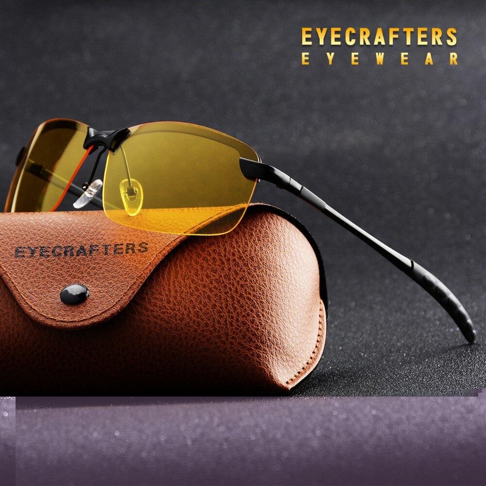 Eyecrafters Dos Homens Sem Aro Óculos Polarizados Lente Amarela Óculos de  Visão Noturna Anti-reflexo Brilho Motorista Bloco Óculos De Sol Eyewear 73b867df8a