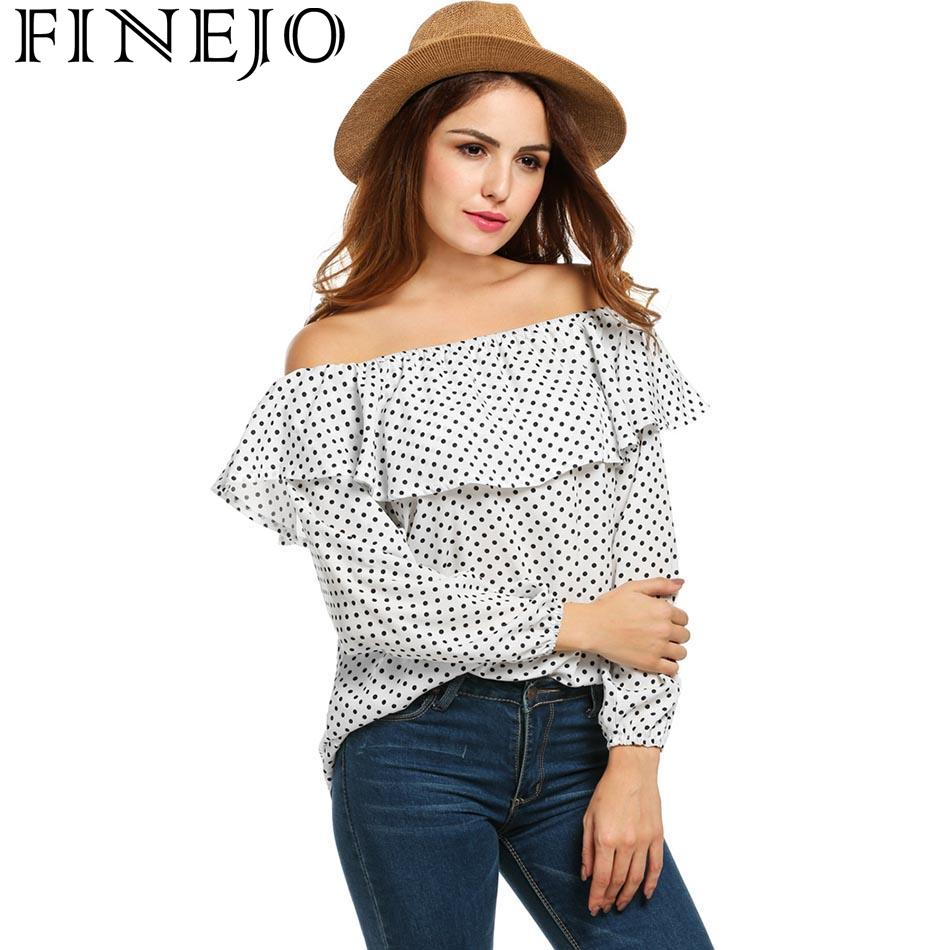 FINEJO Women Fashion Off Shoulder Casual Long Sleeve Dot Prints T-shirt 2018 Spring New Ladies Femme Loose Pullover T Shirt Tops