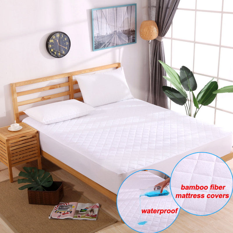 DFH Premium Bamboo Fiber 160X200cm Quilted Mattress Covers Waterproof Mattress Protector Pad Sheet Anti Dust in calking bed