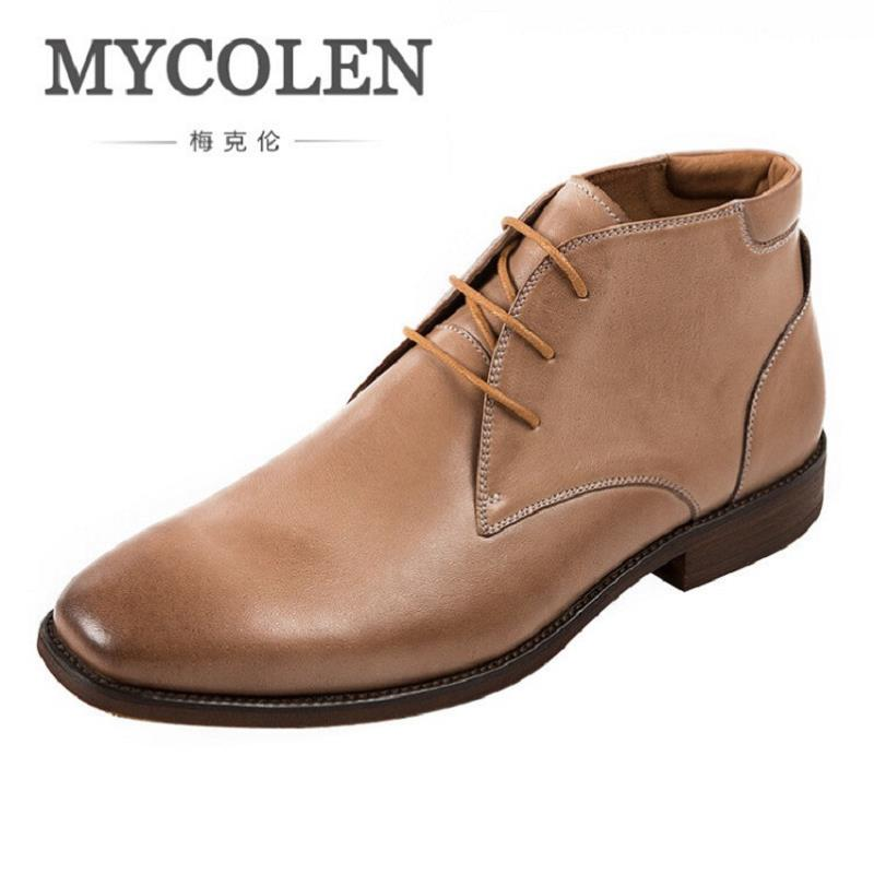 MYCOLEN Classic Genuine Leather Martin Boots British Luxury Brand Men Fashion Desert Boots High Top Leather Shoes Botas Hombre fall trendboots in europe and america heavy bottomed martin boots british style high top shoes shoes boots sneakers