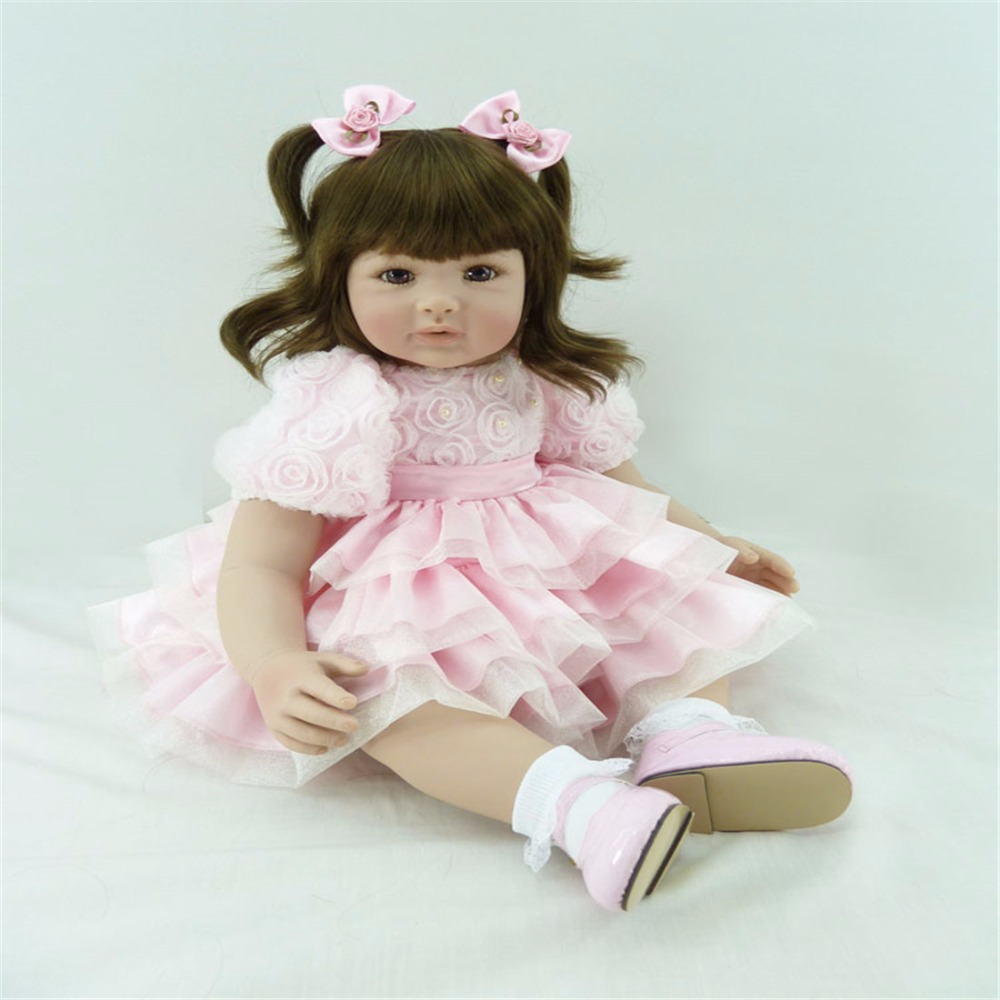 Reborn baby 22 inch 55 cm Silicone doll brown eyes Beautiful pink dress girls holiday gift