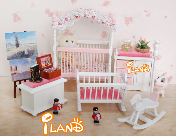2016 NEW 1/12 Dollhouse Miniature Furniture Children Room Pink Flower Baby  Room 6 PCS