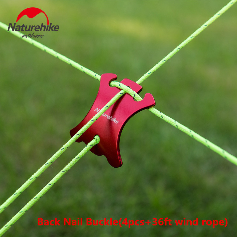 Naturehike 4pcs Buckle+12m Wind Rope Quick Knot Tent Wind Rope Back Nail Buckle Antislip Camping Tighting Hook Wind Rope Buckles