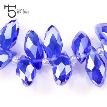 Austria niebieski Ab kolor Teardrop kryształowe koraliki dla majsterkowiczów akcesoria z otworem Briolette Perles dość Facedet luźny szklany koralik Z090 tanie i dobre opinie Small Bridge NONE Szkło zawieszki Owalny kształt 12mm 50PCS 25G moda Crystal Glass Beads Oval Round AAA+ Waterdrop Teardrop