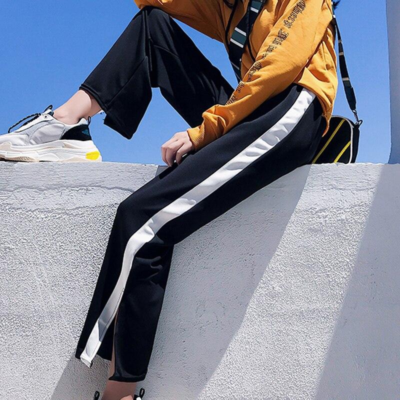korean autumn black Side Split Jogger Sweatpants Harajuku Patchwork stripe   Wide     Leg     Pants   Women Casual Loose High Waist Trousers