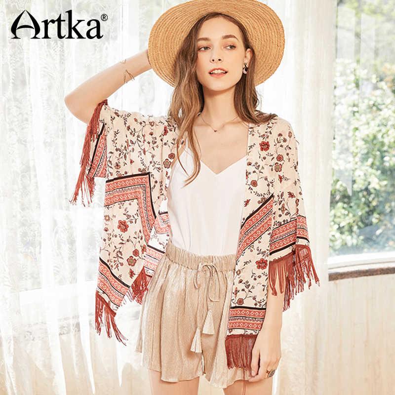 9ff9bbaa15 ARTKA New Summer Women Scarf Bohemian Holiday Style Floral Tassel Half  Sleeve Ethnic Chiffon Shawl Lady