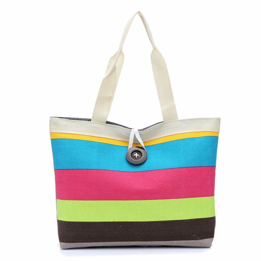 Canvas tote bags on wheels - Fashion Women Canvas Reusable Striped Shopping Bags Casual Ladies Foldable Handbag With Zipper Large Capacity Shoulder