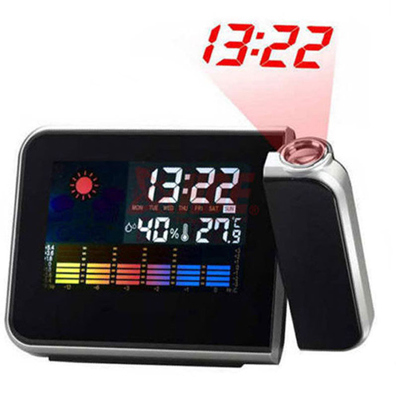 Projection Alarm Clock with Digital Laser Time Projector IN/Outdoor Temperature Thermometer Humidity Hygrometer Weather Station