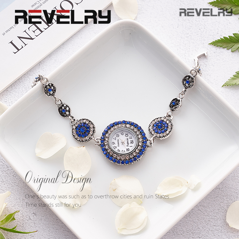 REVELRY 2019 New Fashion Rhinestone Watches Women Luxury Stainless Steel Quartz Watch Women Dress Bracelet Watches Ladies Clock
