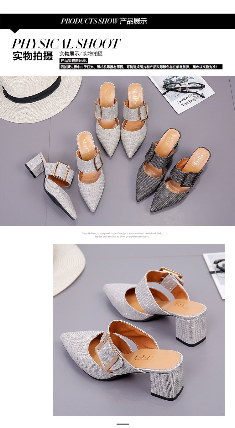 2019spring New Thick with Muller Shoes Women's High Heels Pointed Belt Buckle Back Air Slippers Elegant Temperament Baotou 12