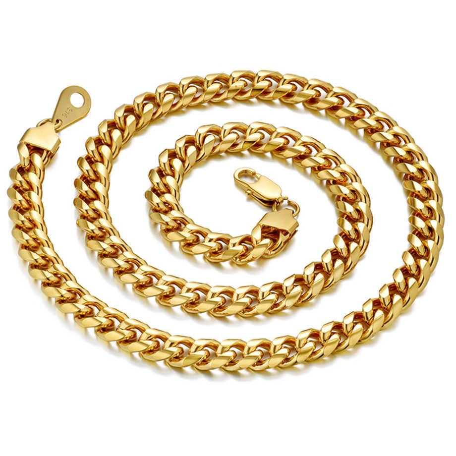 Hiphop cadenas de cuello de plata gruesa para hombres Acero inoxidable pesado Miami Curb cadena de enlace cubano collares de joyería masculina XL1305