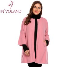 IN'VOLAND Plus Size L-4XL Women's Parka Coat Autumn Winter Flare Long Sleeve Jacket Open Front Solid Woolen Overcoat Outwear